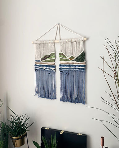 Seascape . Woven and macramé tapestry . Handmade in Northern Ireland .
