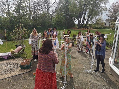 Plant hanger making in action , hen party crafting session in Ballymoney .