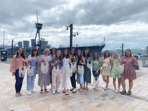 Macramé hen party workshop at the titanic pump and dock house , Belfast .