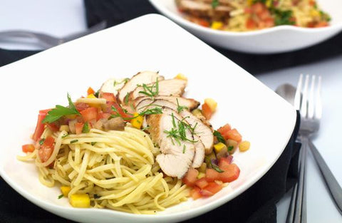 Bruschetta Grilled Chicken Breast with Aglio e Olio & Fresh Basil Linguine