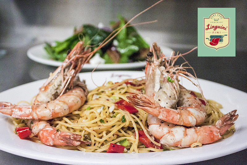 Linguini Fini's Tiger Prawn alla Diavola with Homemade Pasta and Spinach Pancetta Salad
