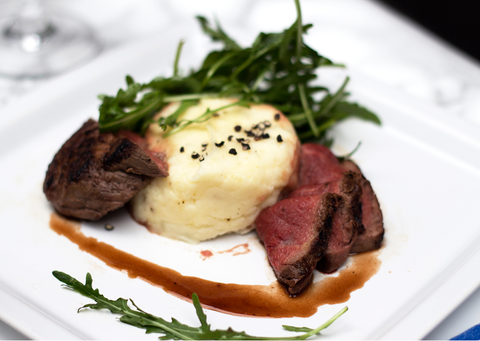 Pan Seared Fillet of Beef with Red wine Sauce and Aligot