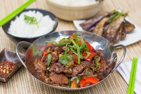 Sichuan Spiced Stir-Fry Lamb with Jasmine Rice and Baby Eggplant