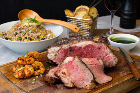 'Surf & Turf' Roasted Sirloin with Prawn Quinoa Salad and Parmesan & Herbs Potato Bites