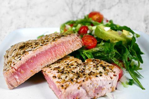 Tuna Steaks over Avocado and Rocket Salad with Wasabi Vinaigrette