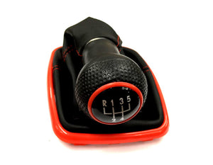 Gear Knob & Shift Boot (Red Frame & Red Stitching Boot)