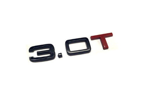 Gloss Black & Red 'T' 3.0T Rear Trunk Emblem