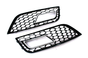 RS Style Honeycomb Vented Chrome Trim Fog Light Grille - A4 B8 Facelift