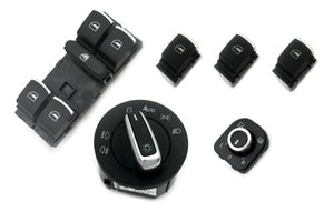 Chrome Interior Switches Combo (Auto Coming Home) - Golf / Jetta MK5 Golf MK6 Passat B6