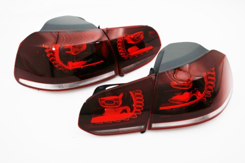 Golf R LED Tinted Tail Light Set With Rear Fog - Golf MK6