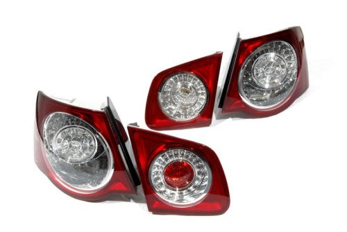 R36 Style Cherry Red LED Tail Light Kit - Jetta MK5