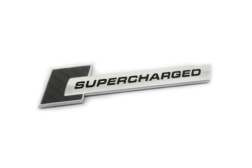 'SUPERCHARGED' Chrome & Carbon Fiber Emblem