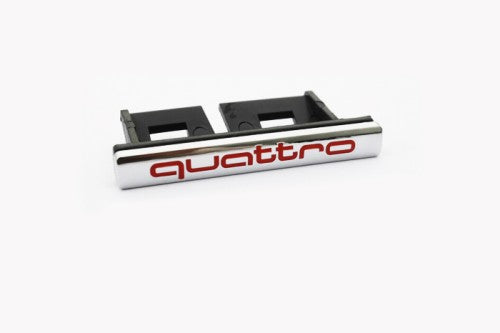 'QUATTRO' Red & Chrome Grille Mount Emblem