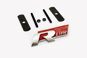 'R Line' Chrome & Red Grille Mount Emblem
