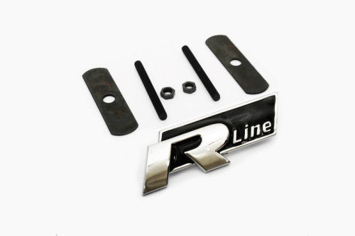 'R Line' Chrome & Black Grille Mount Emblem