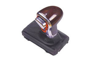 Walnut Wood Gear Shifter Knob & Grey Gaitor