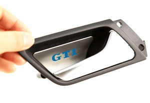 Stainless Steel Interior Door Handle Protection Cover Plate Blue 'GTI' Style