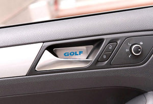 Stainless Steel Interior Door Handle Protection Cover Plate Blue 'Golf' Style