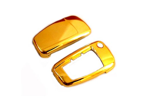 Remote Flip Key Fob Cover (Gold Chrome) For Audi Flip Key Remote