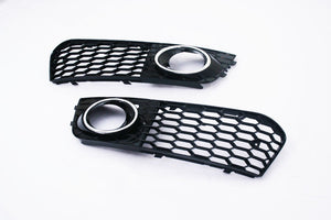 Gloss Black Honeycomb Style Chrome Ring Open Vent Front Fog Light Grille - A4 B8