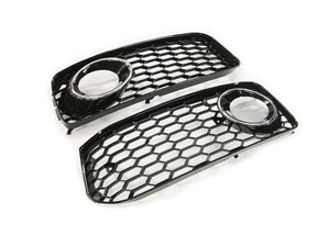 Black Honeycomb Open Vent S-Line Bumper Front Fog Light Grille (Chrome Ring) - A5 / S5 8T