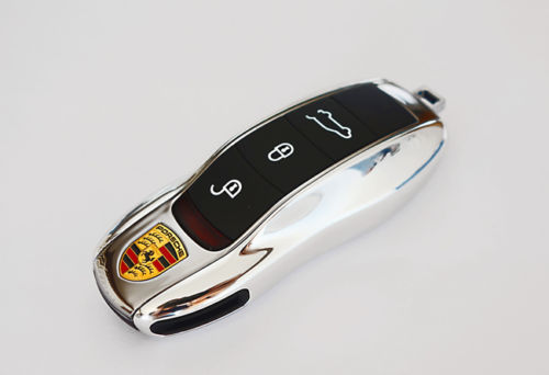 Remote Key Cover (Silver Chrome) For Porsche Keyless Remote Key