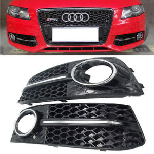 Honeycomb RS Style Front Fog Light Grille With Chrome Accent - A4 B8