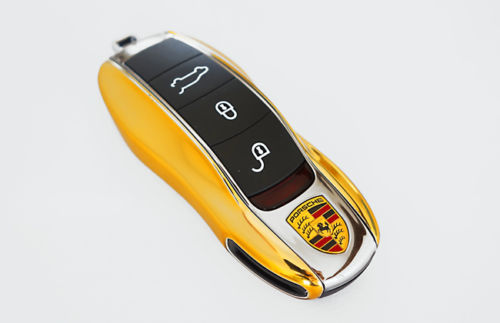 Remote Key Cover (Gold Chrome) For Porsche Keyless Remote Key