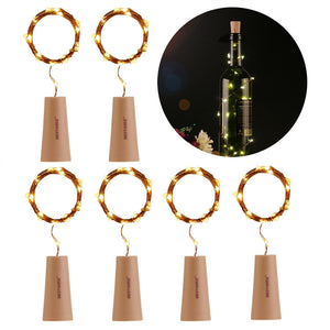 Copper Wire LED lights Attached to Cork Stopper (6pcs)