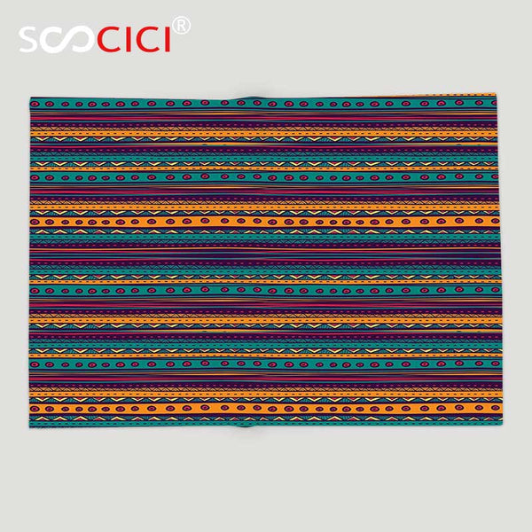 Soft Fleece Throw with Southwestern Tribal Stripes