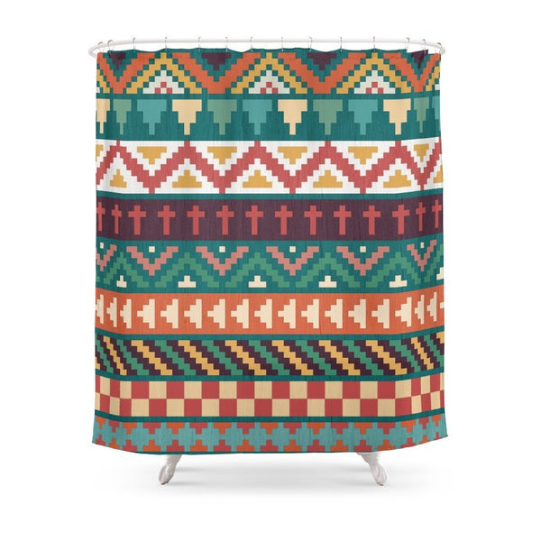 Southwestern Pattern Shower Curtain with Non-slip Floor Mat