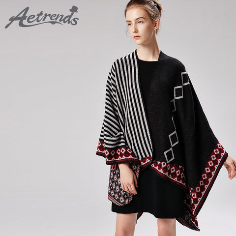 Vintage Striped Mexican Poncho