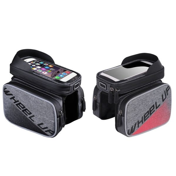 Bicycle Saddle Bag with Cell Phone Case attaches to the Top Tube