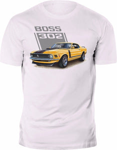 Mustang Boss 302 Vintage White 100% Cotton Custom Print Tee shirt