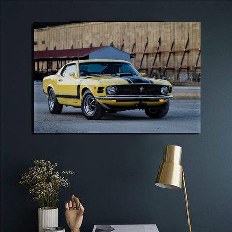 Boss 302 Mustang 1970 Yellow Wood Frame Fabric Poster