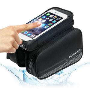 "Waterproof Touchscreen Bicycle Saddle Bag for Front Top Tube for 5"" and 5.7"" Cellphone"