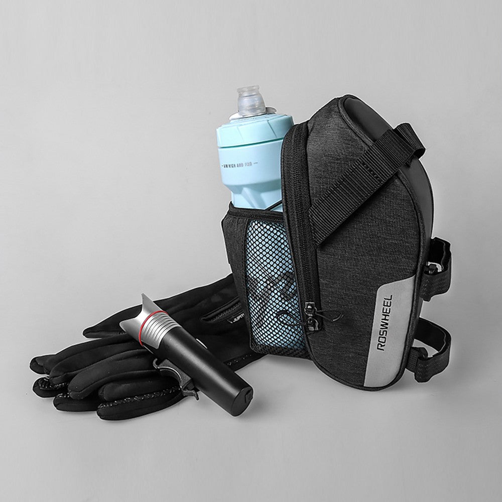Bicycle/Cycling Strap-on Saddle Bag with Mesh Pouch for Water Bottle