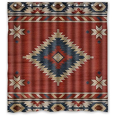 66(W)x72(H)-Inch Southwest Native American Waterproof Polyester Curtain (Shower Rings Included)