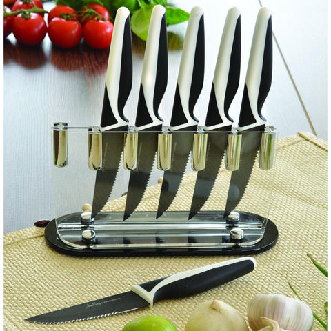 6-Piece Non-Stick Steak Knife Set & FREE Perspex Block