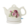 White Country Rose Ceramic Kettle - 1L
