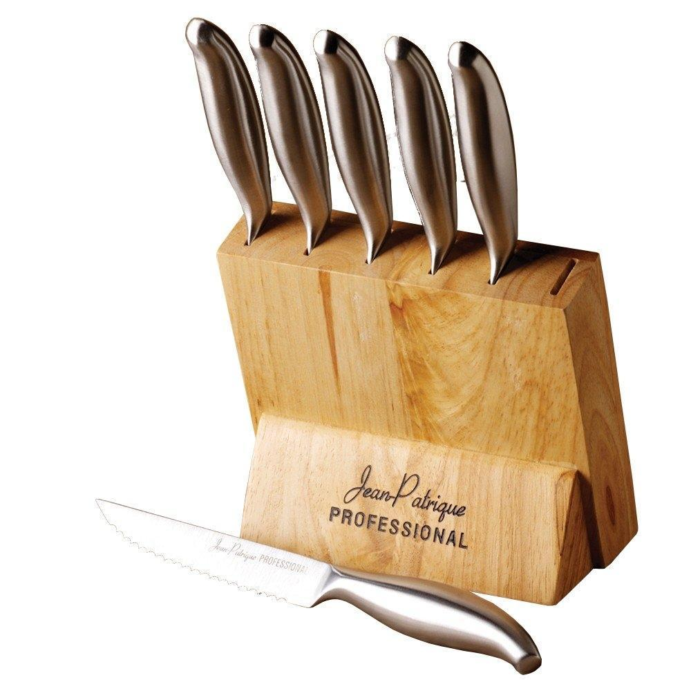 6-Piece Stainless Steel Steak Knife Set with Wooden Block