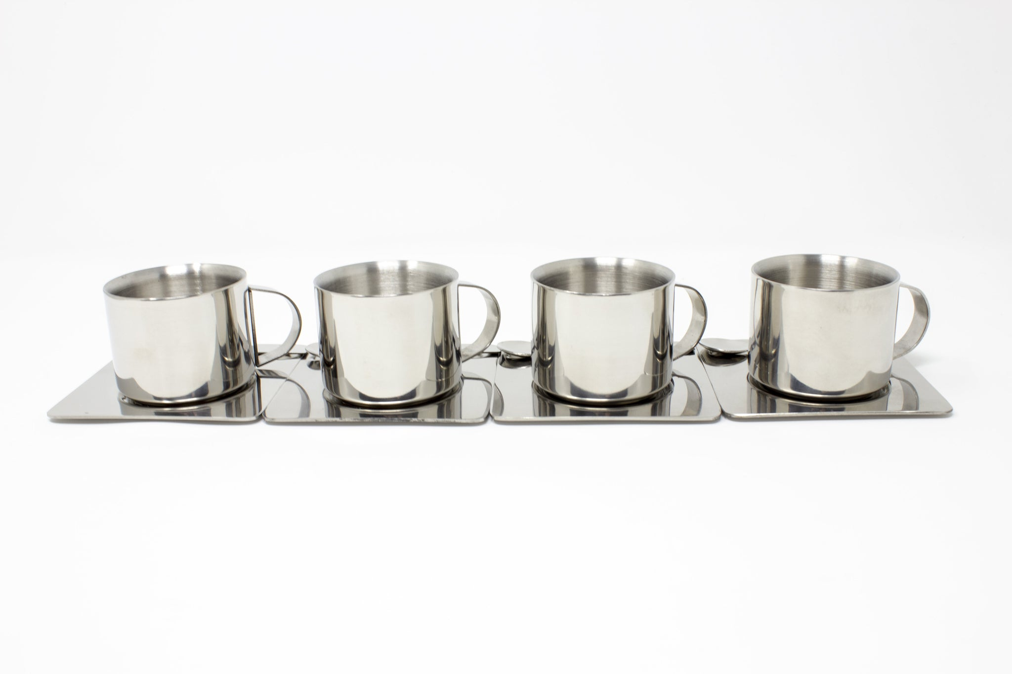 Espresso Cups with Saucers & Spoons - Set of 4
