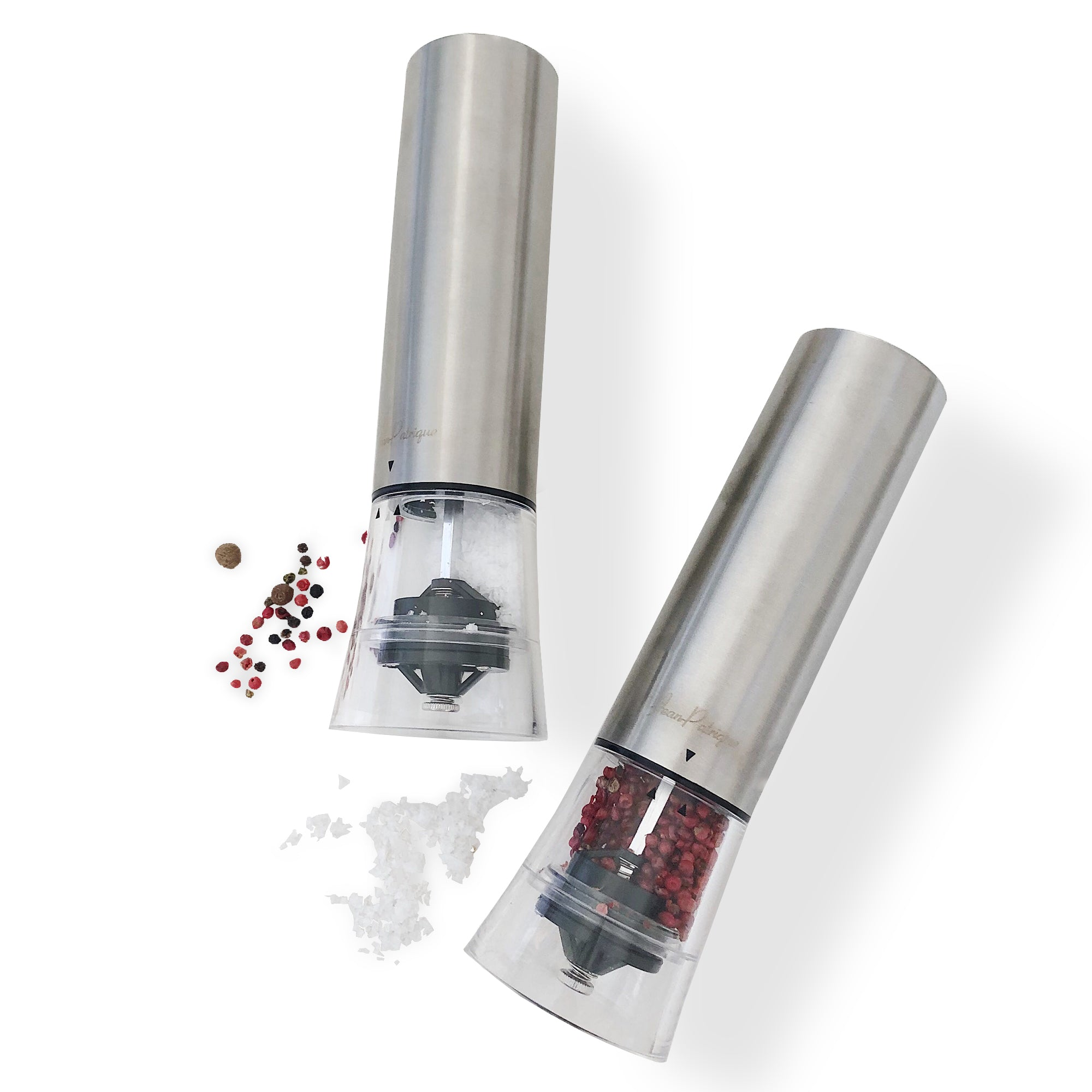 One-Touch Stainless Steel Electronic Salt and Pepper Mill Set