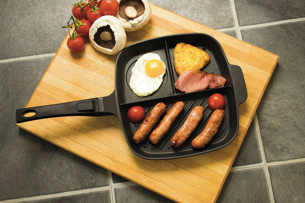 The Lazy Pan - Cast Aluminium Non-Stick Multi Section Frying Pan