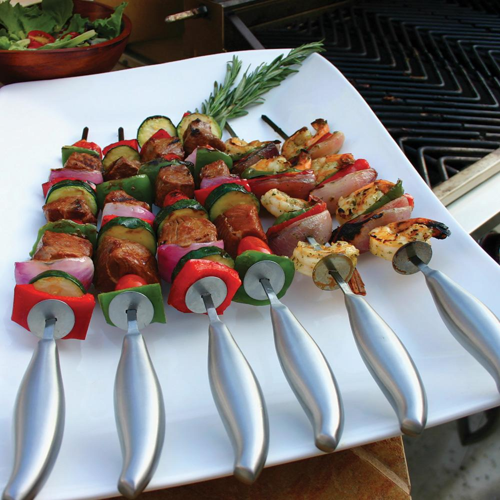 Professional Chef's Stainless Steel BBQ Skewers - Set of 6