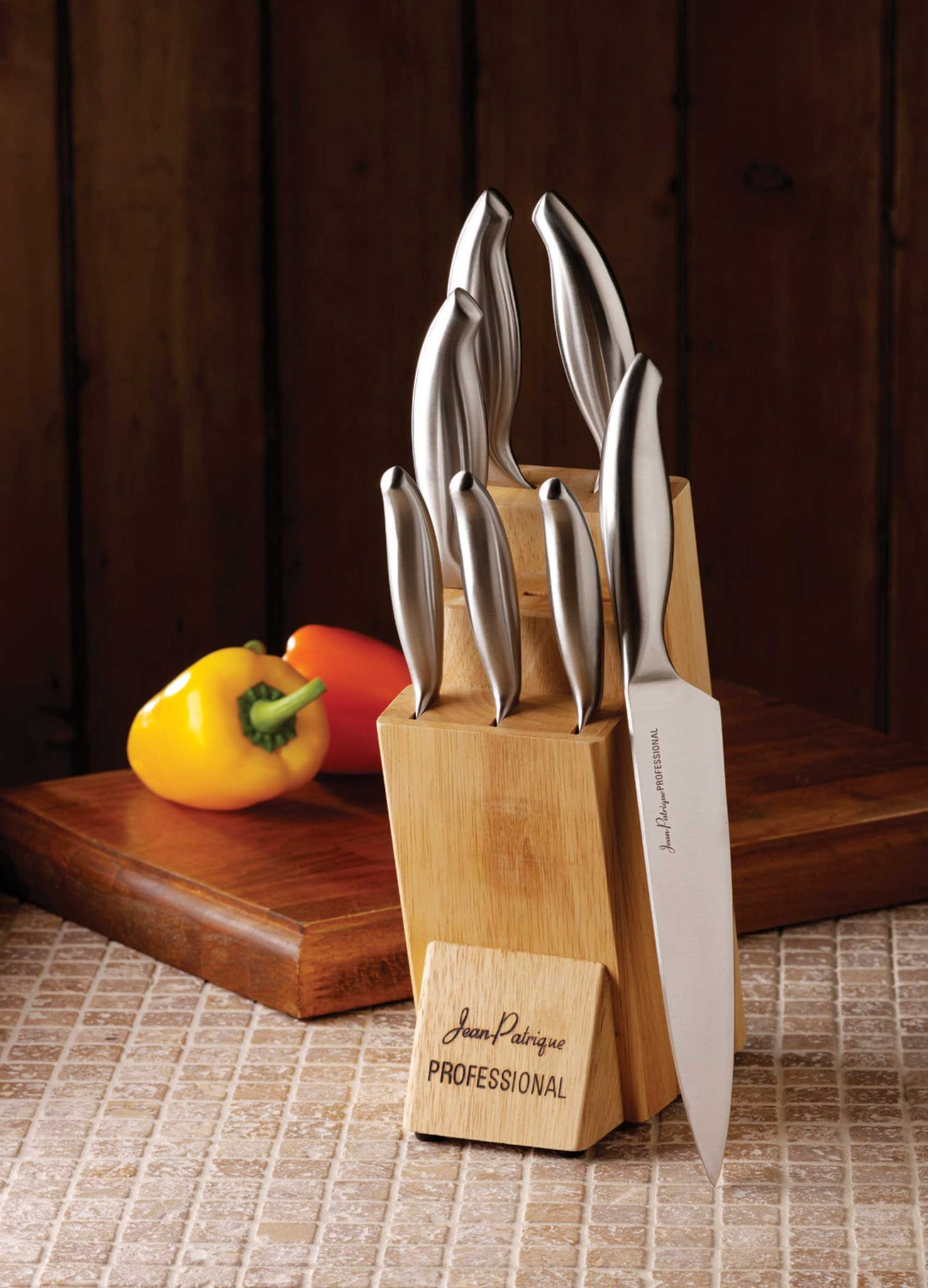 Professional Kitchen Knife Set & Wooden Knife Block - Set of 7