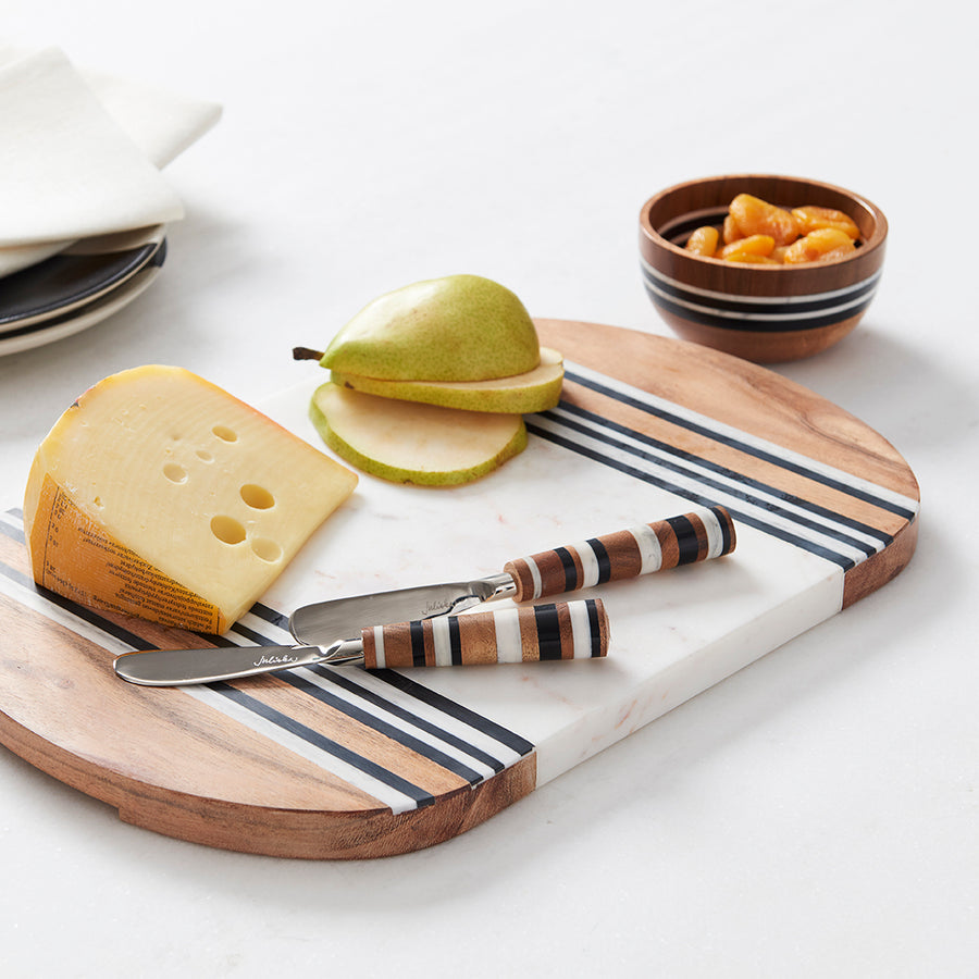 Striped Cheeseboard and Condiment Bowls