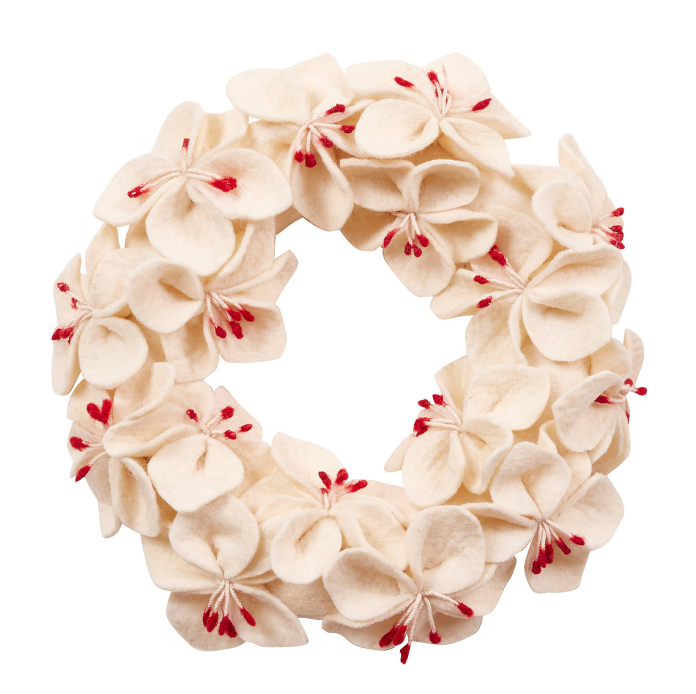 "White Amaryllis Felt Wreath (14"")"