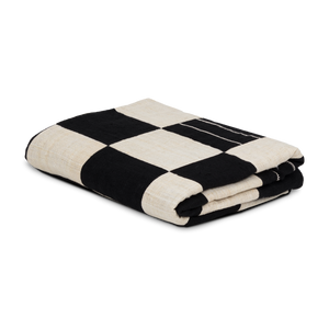 Load image into Gallery viewer, Checkered Black and White Hemp Throw
