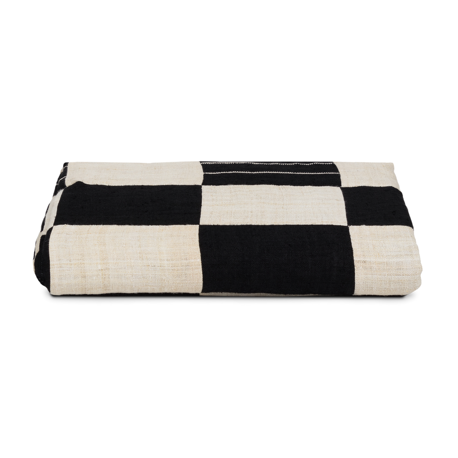 Checkered Black and White Hemp Throw